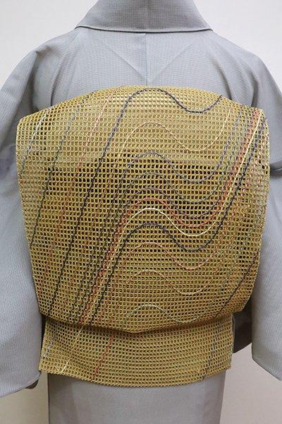 あおき【K-6261】粗紗 八寸織名古屋帯 芥子色 多彩な流線文