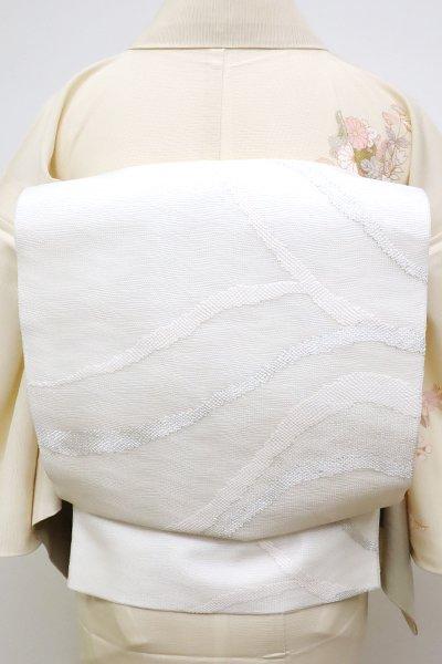 あおき【L-4596】紗 袋帯 練色 抽象文