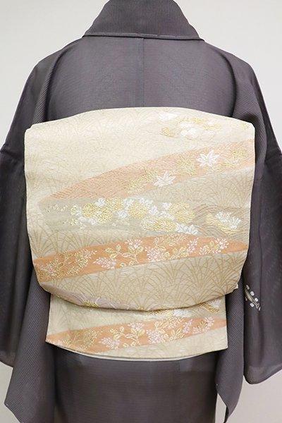 あおき【L-4597】紗 袋帯 鳥の子色 鬘帯の図