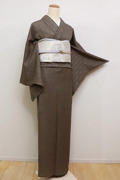 あおき【C-1678】(M・広め)紋紗 繍一ッ紋 色無地 江戸鼠色 装飾丸文