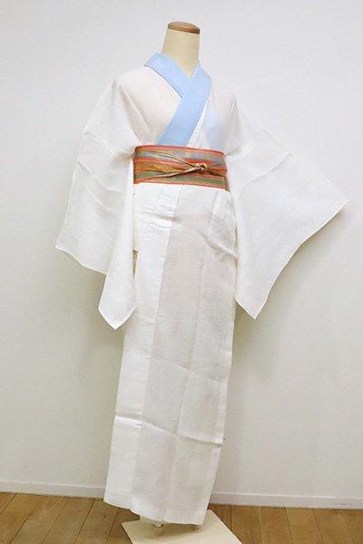銀座【F-394】麻 紋紗 長襦袢 生成り色 籠目に撫子の図