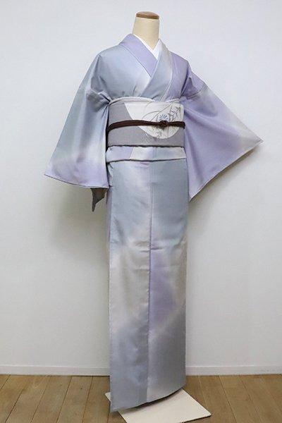 銀座【D-2336】(細め)単衣 結城紬地 小紋 白藤色×絹鼠色×灰青色 暈かし(証紙付)