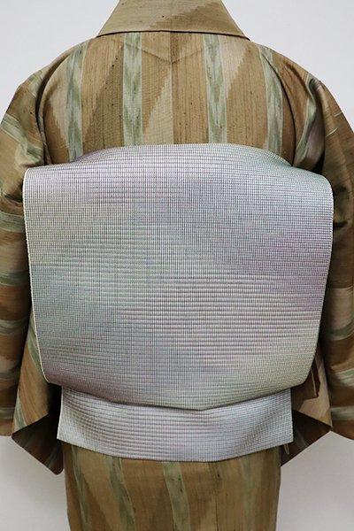 銀座【K-6267】博多織 夏 八寸名古屋帯 灰白色 斜め暈かし