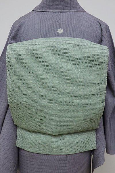 銀座【K-6268】捩り織り 夏 開き名古屋帯 山葵色 菱文