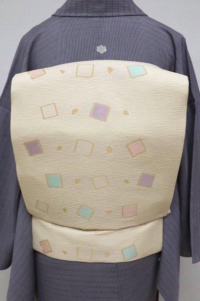銀座【K-6269】西陣製 織名古屋帯 蜂蜜色 切箔に桜の花弁(証紙付)