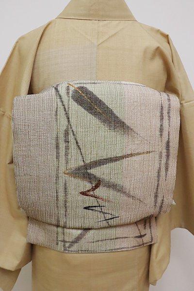あおき【L-4603】波筬織 染洒落袋帯 薄香色×柳茶色×茶鼠色 縞に抽象文