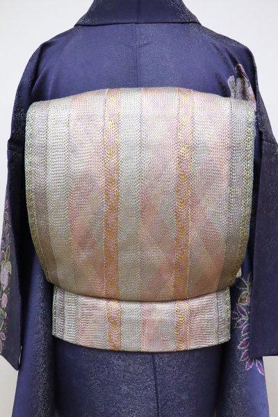 あおき【L-4604】組織り 袋帯 虹色×灰青色 竪縞