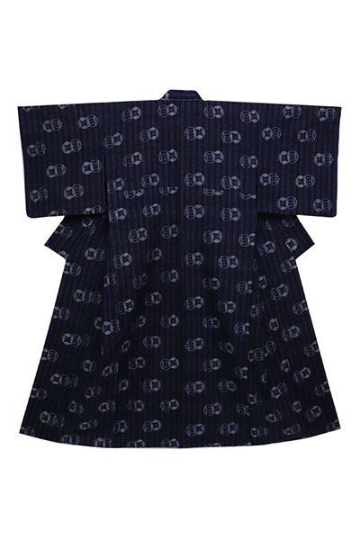 あおき【着物2544】浦野理一作 単衣紬 濃藍色 細縞に絵絣 (しつけ付)