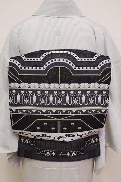 あおき【L-4606】西陣製 夏 洒落袋帯 黒色 装飾文の横段(証紙付)(N)