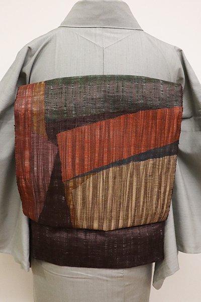 あおき【L-4608】波筬織 夏 洒落袋帯 黒鳶色 抽象文