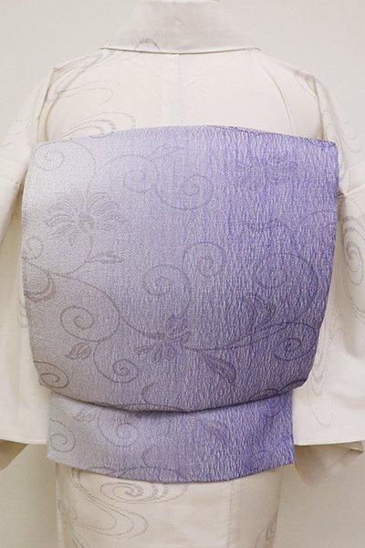 あおき【L-4609】櫛織 洒落袋帯 桔梗色 竪暈かしに花唐草文