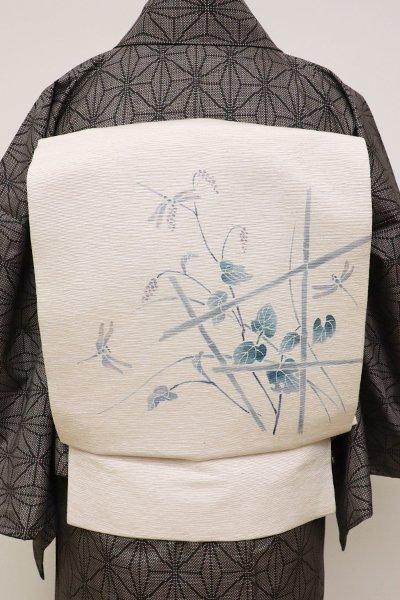 銀座【K-6274】紬地 染名古屋帯 練色 竹垣にあかまんまや蜻蛉の図
