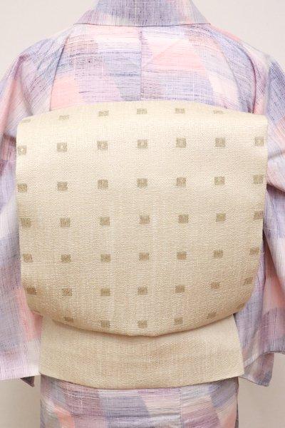 あおき【L-4611】夏紬地 洒落袋帯 生成色 幾何文