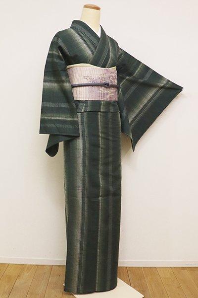 WEB限定【A-2897】単衣 紬 革色 竪縞