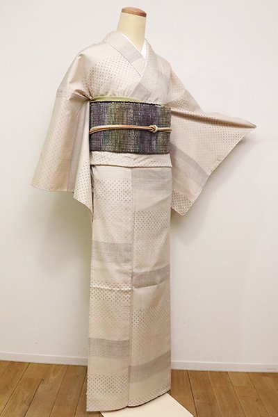 銀座【A-2898】単衣 紬 練色 絣の横段