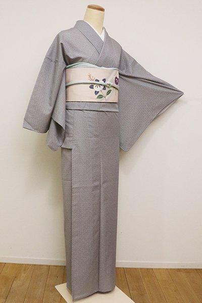 銀座【C-1684】きもの英製 絽 江戸小紋 銀鼠色 有職七宝文