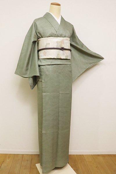 銀座【C-1685】きもの英製 絽 江戸小紋 山葵色 波頭文