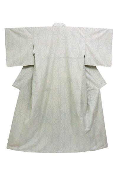 銀座【着物2549】薩摩絣 練色 麻の葉文 (しつけ付)