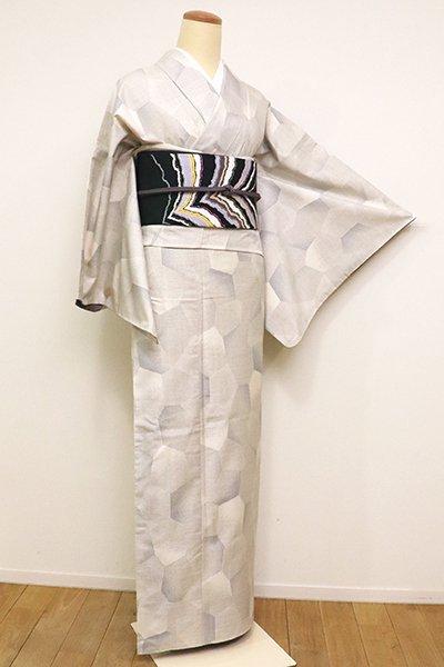 あおき【A-2899】(広め)白大島紬 白練色 抽象文