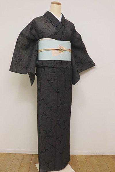 銀座【A-2900】夏結城紬 黒色 唐草文(反端付)