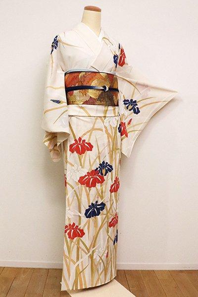 あおき【B-2292】絽 繍一ッ紋 訪問着 象牙色 菖蒲の図 (銀座きしや扱い・畳紙付き)