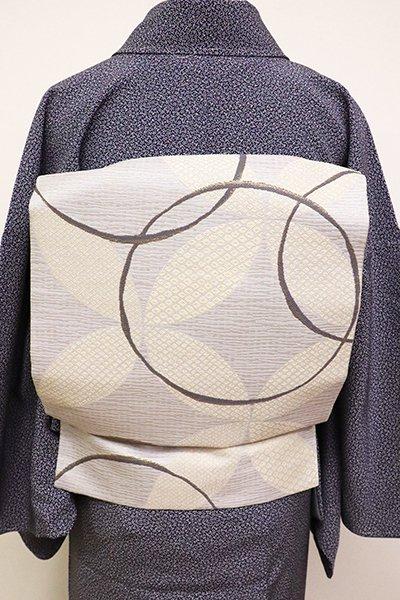 銀座【K-6280】織名古屋帯 白鼠色 七宝文