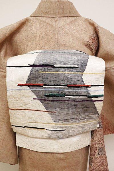 あおき【L-4615】波筬織 洒落袋帯 白練色 抽象文