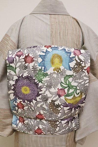 あおき【K-6289】型絵染 名古屋帯 白色 唐花の図