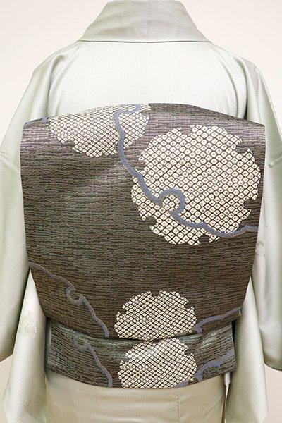 銀座【K-6290】織名古屋帯 鉛色×金色 雪輪文