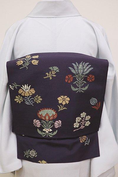 あおき【K-6291】西陣 川島織物製 二部式 紬地 織名古屋帯 濃鼠色 更紗花文(三越扱い)