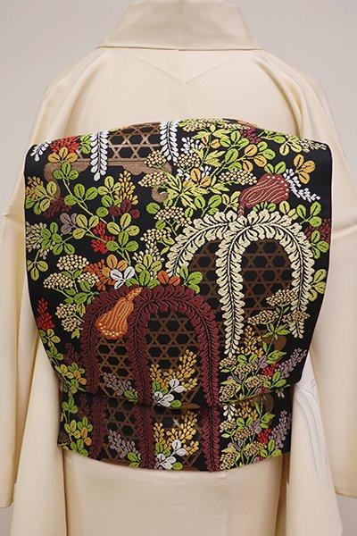 銀座【L-4621】唐織 袋帯 黒色 虫籠と秋草の図
