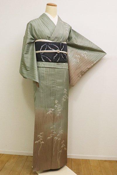 あおき【B-2296】(細め)紬地 絞り染め 付下げ 青白橡色 裾暈かしに松の図