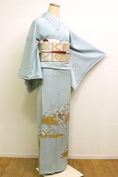 あおき【B-2297】(S)繍一ッ紋 訪問着 秘色色 霞に菊花と冊子文(三越扱い)