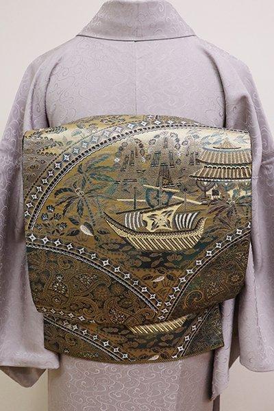 銀座【L-4630】西陣 服部織物製 袋帯 黒色×金色 オリエント更紗文