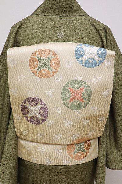 銀座【K-6295】西陣製 織名古屋帯 浅黄色 有職丸文