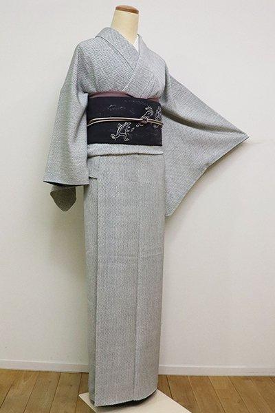 銀座【D-2341】小紋 白色×藍色 網代文(反端付)(N)
