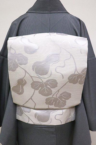 銀座【K-6301】織名古屋帯 白練色 瓢箪の図
