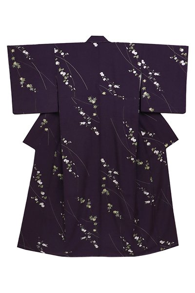 あおき【着物2562】総刺繍 付下げ小紋 滅紫色 桜に菊花の図