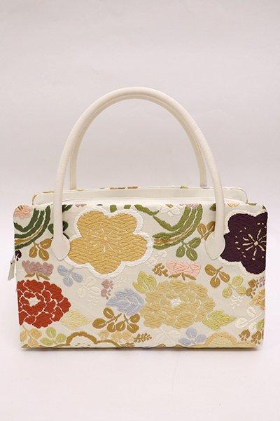 あおき【G-1359】 利休バッグ 唐織 中サイズ 白 梅や桜に四季花の丸文