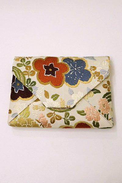 【G-1362】数寄屋袋 唐織 生成り色 梅や桜に四季花の丸文(N)
