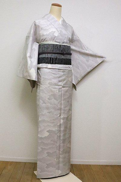 【A-2914】(広め)白大島紬 白練色 雲文