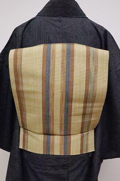 あおき【K-6304】米沢・白根沢工房製 芭蕉糸 八寸名古屋帯 枯色 縞(栞付)
