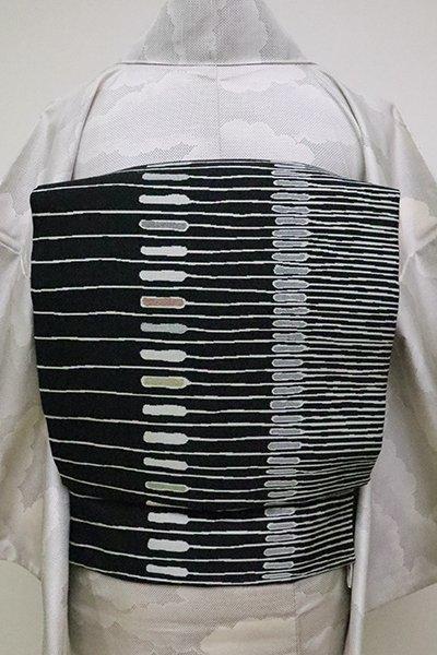 銀座【K-6305】織名古屋帯 黒色 抽象文の横段