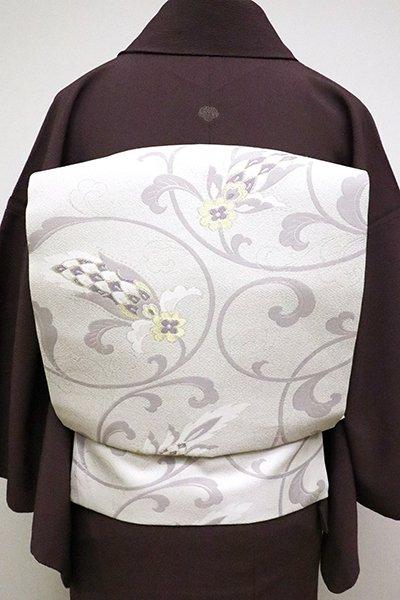銀座【K-6307】織名古屋帯 白練色 欧風花唐草文