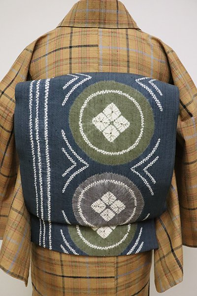 銀座【L-4637】紬地 絞り染め 洒落袋帯 鉄御納戸色 丸文