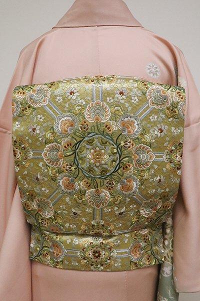 銀座【L-4638】刺繍 袋帯 金色 装飾花唐草文