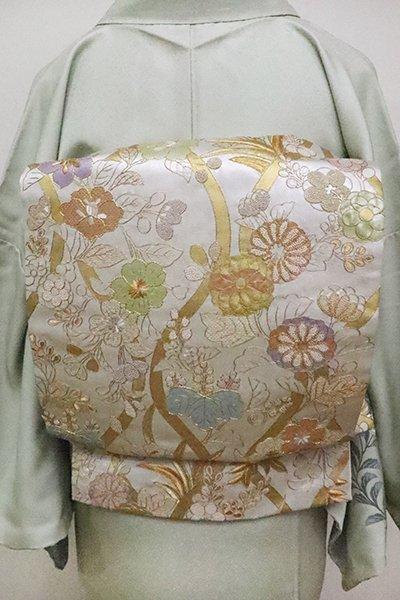 銀座【L-4639】刺繍 袋帯 銀色 立涌に吉祥花文