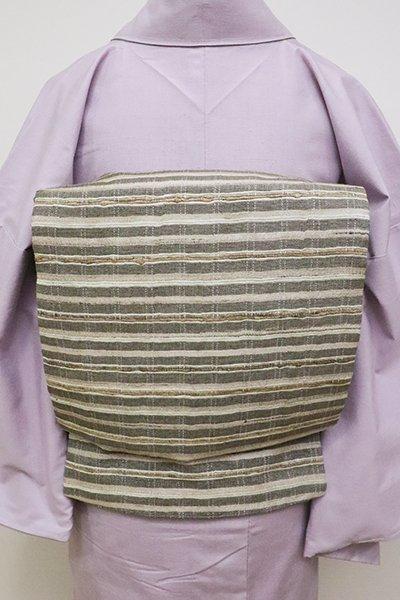 銀座【L-4641】野蚕糸紬地 洒落袋帯 亜麻色×海松茶色 横段(反端付)(N)