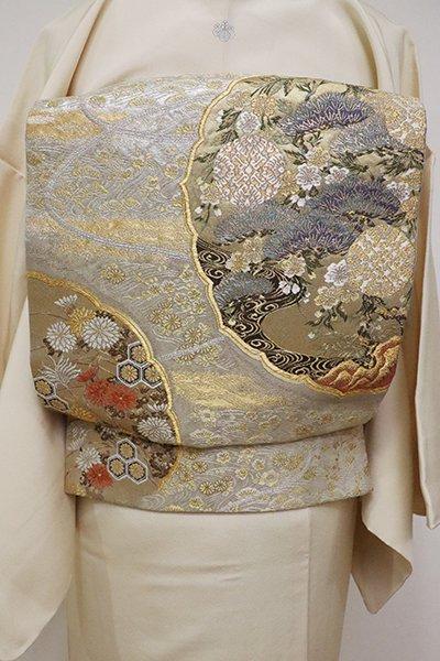 銀座【L-4643】西陣 加納幸製 袋帯 銀色×金色 鏡裏文(落款入)