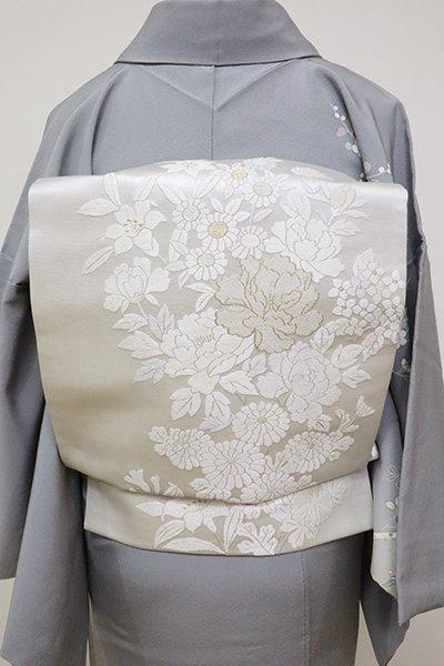 銀座【L-4646】刺繍 袋帯 白練色 四季花の図